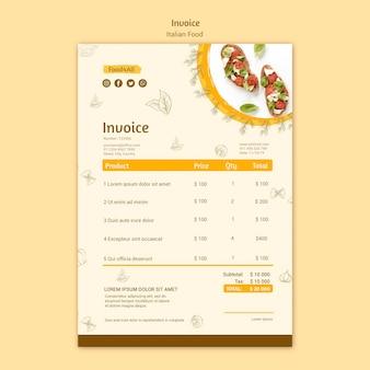 Diseño de factura de comida italiana