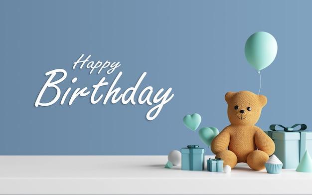 Diseño de feliz cumpleaños con regalos render 3d