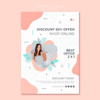 Diseño de flyer de compras en línea