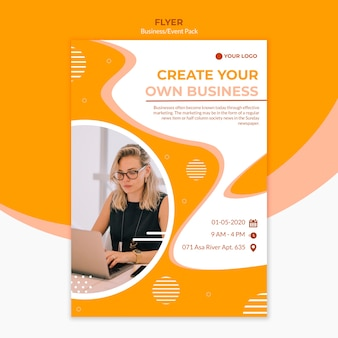 Diseño de flyer para crear un negocio.
