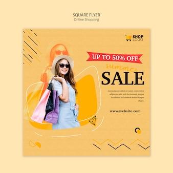 Diseño de flyer cuadrado de compras en línea