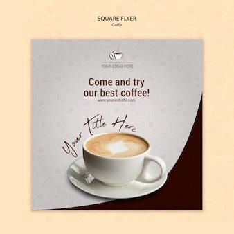Diseño de flyer cuadrado de concepto de café