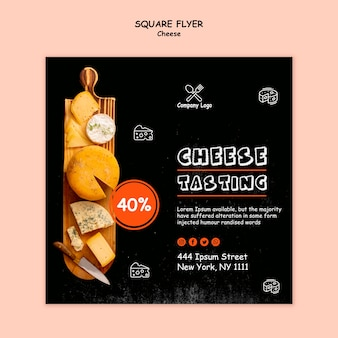 Diseño de flyer cuadrado de degustación de queso