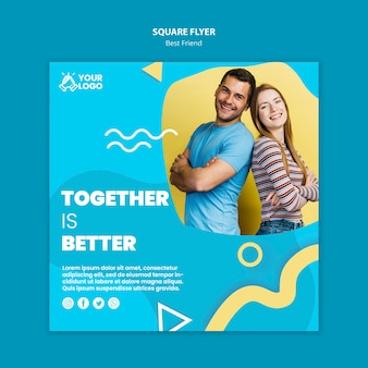 Diseño de flyer cuadrado de mejores amigos