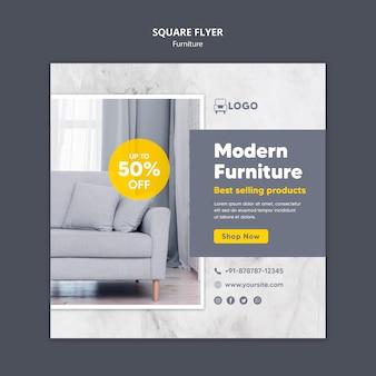 Diseño de flyer cuadrado de muebles modernos.