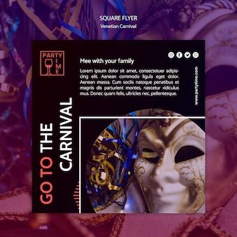 Diseño de flyer para plantilla de carnaval veneciano
