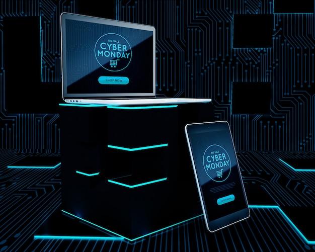 Diseño futurista de ventas de lunes cibernético