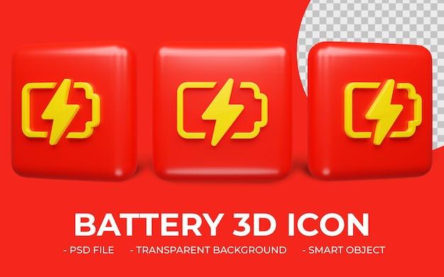 Diseño de icono de batería o energía de render 3d