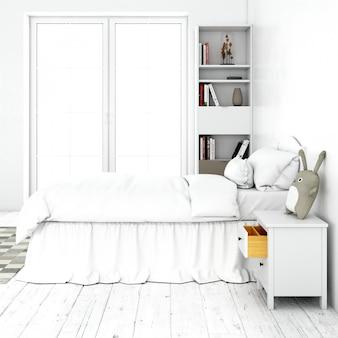 Diseño interior de habitación de cama