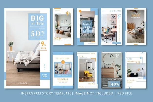 Diseño interior plantilla gráfica de historias de instagram