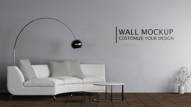 Diseño interior con sofá blanco.