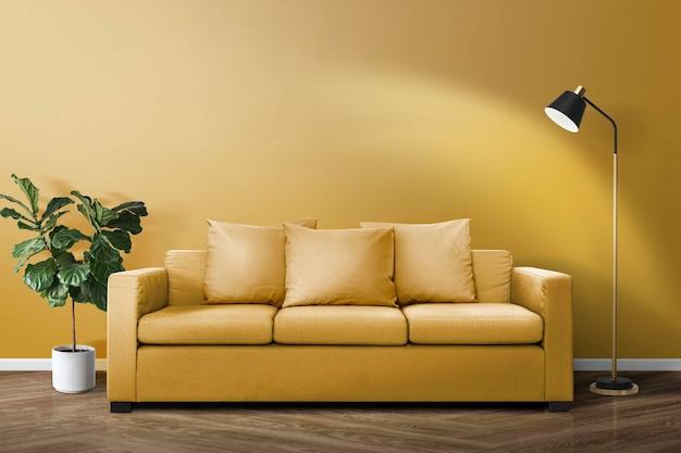 Diseño de interiores psd de maqueta de sala de estar contemporánea
