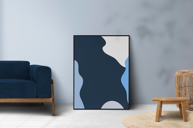 Diseño de interiores de psd de maqueta de sala de estar mínima