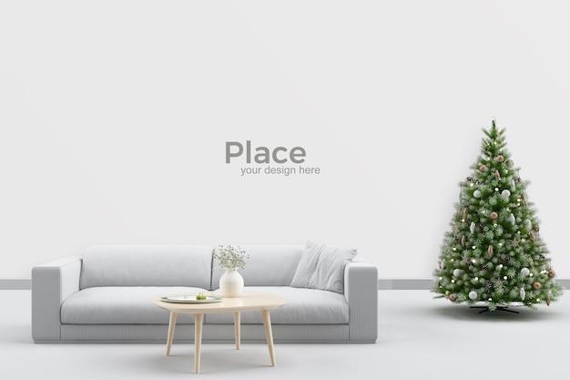 Diseño de interiores de sala de estar con árbol de navidad.