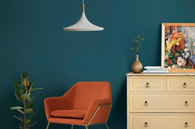 Diseño de interiores de sala de estar de maqueta de pared retro
