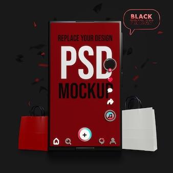 Diseño de maqueta de black friday para smartphone