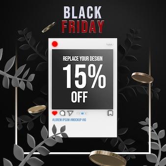Diseño de maqueta de black friday social media square
