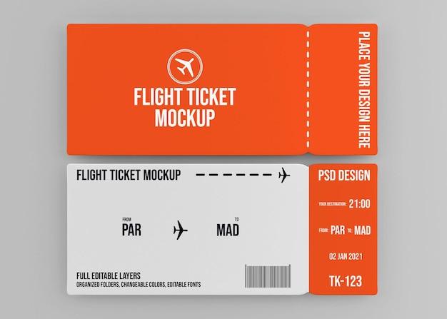 Diseño de maqueta de boleto de vuelo realista aislado