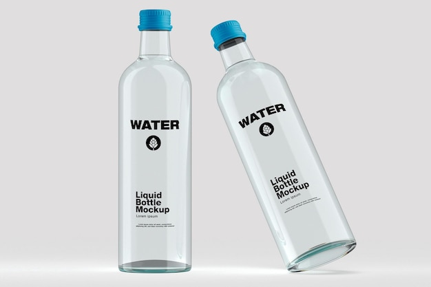 Diseño de maqueta de botella de agua en representación 3d