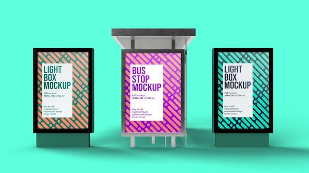 Diseño de maqueta de caja de luz y parada de autobús aislado