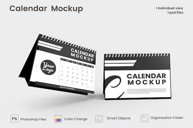 Diseño de maqueta de calendario de escritorio en espiral