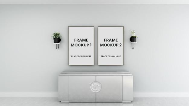 Diseño de maqueta de cartel de marco de foto en blanco