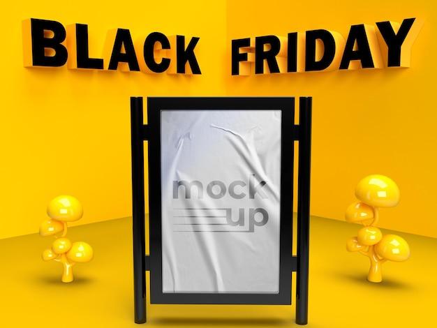 Diseño de maqueta de cartelera de viernes negro con letra en negrita en pared amarilla