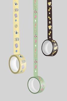 Diseño de maqueta de cintas washi colgando isoalted