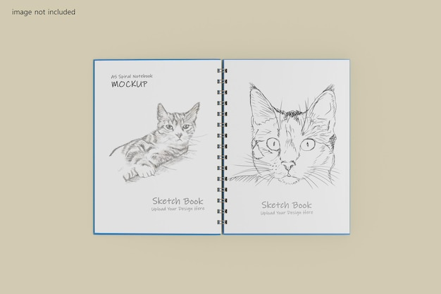 Diseño de maqueta de cuaderno espiral a5