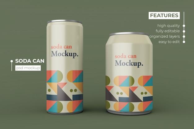 Diseño de maqueta de dos latas de refresco de aluminio moderno intercambiable