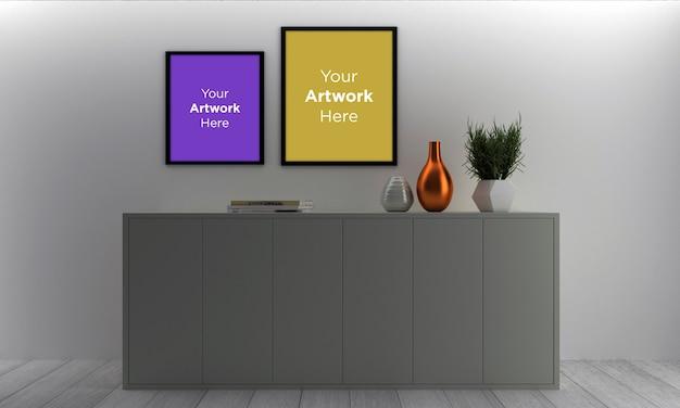 Diseño de maqueta de dos marcos de fotos vacíos con gabinete gris