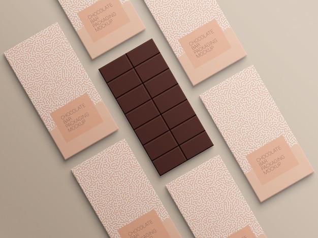 Diseño de maqueta de embalaje de papel de embalaje de barra de chocolate