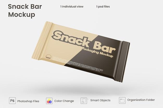 Diseño de maqueta de empaque de barra de bocadillos de chocolate.