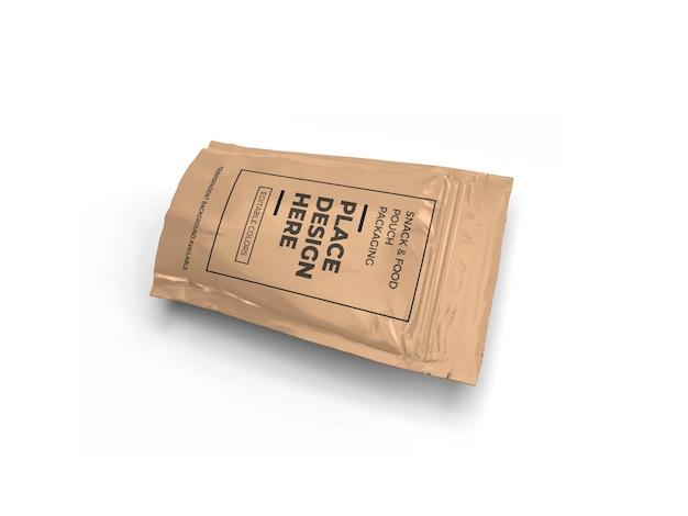 Diseño de maqueta de empaque de bolsa de refrigerio aislado