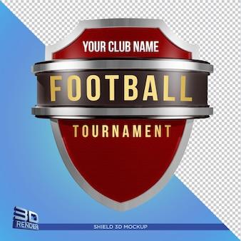 Diseño de maqueta de escudo aislado para cartel de evento deportivo representación 3d