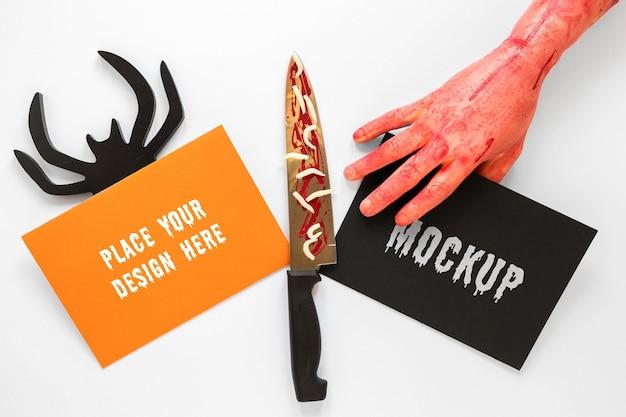 Diseño de maqueta espeluznante con cuchillo