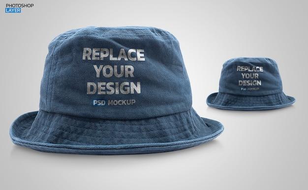 Diseño de maqueta de foto de sombrero de cubo