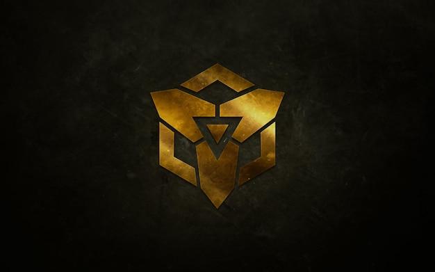 Diseño maqueta logotipo realista metal precioso brillante aislado