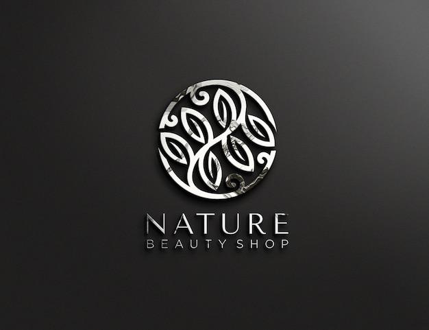 Diseño de maqueta de logotipo en relieve metálico
