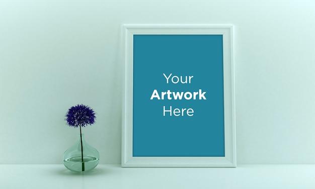 Diseño de maqueta de marco de foto vacío con florero