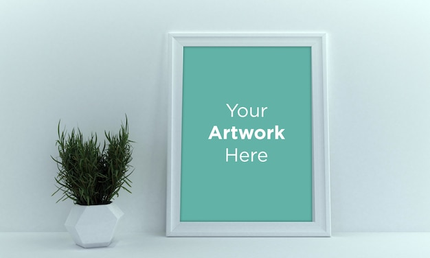Diseño de maqueta de marco de foto vacío con planta verde