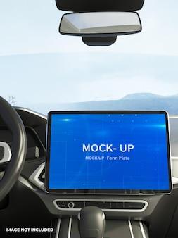 Diseño de maqueta de monitor de coche en renderizado 3d