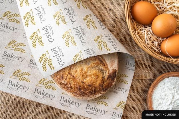 Diseño de maqueta de papel para envolver pan