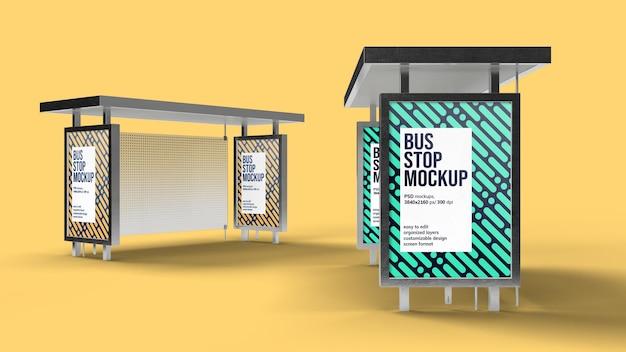 Diseño de maqueta de parada de autobús aislado