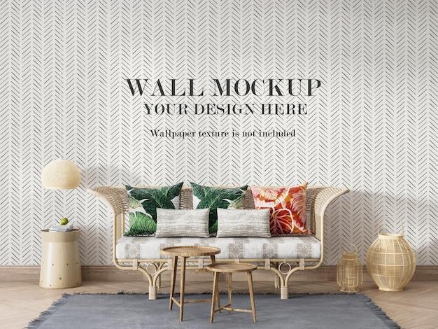 Diseño de maqueta de pared detrás del sofá de ratán