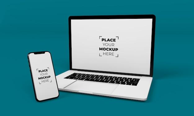 Diseño de maqueta de portátil y smartphone de pantalla completa