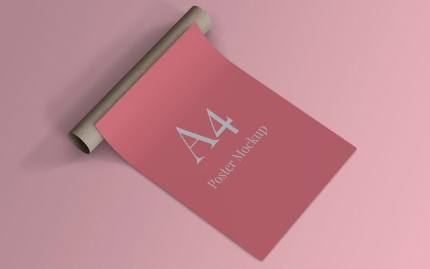 Diseño de maqueta de póster a4 con rollo de cartón