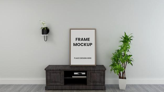 Diseño de maqueta de póster de marco de foto en blanco en diseño de interiores
