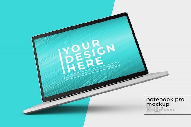 Diseño de maqueta psd portátil de 15'4 pulgadas premium pro personalizable en vista izquierda girada y central