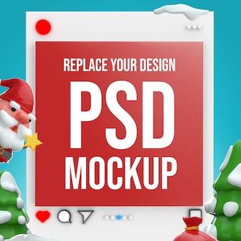 Diseño de maqueta de renderizado 3d de feliz navidad de instagram